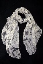 B100 Vintage Eiffel Tower Paris France Black & Ivory Scarf Wrap Shawl Boutique