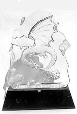 Art Glass Intaglio Dragon Sculpture on Marble Base