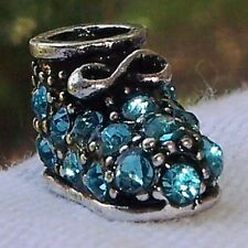 Shoe Booty Blue Rhinestone Birthstone New Baby Boy Bead for Euro Charm Bracelets