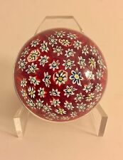 John Deacon Glass Paperweight- Red, White, & Blue Flowers