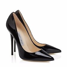 Most Wanted! Jimmy Choo Anouk Black Patent Leather Pointy Heels Shoes 38.5 8-8.5