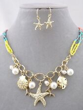 Ocean Necklace Set With Gold Charms Starfish Shell Bead Fashion Jewelry New