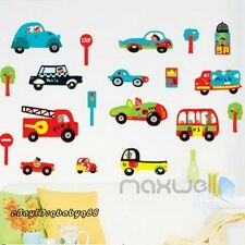 Police Car School Bus Removable Wall Sticker Decals Kids Nursery Decor Mural