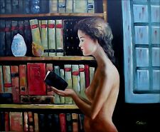 Quality Hand Painted Oil Painting Nude Young Lady Reading 20x24in