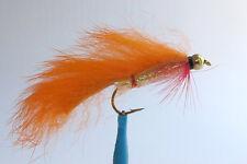 1 x Mouche de Peche Streamer Zonker Orange BILLE H8/10/12 alevin fly tying fly