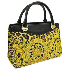 Authentic GIANNI VERSACE Leopard Pattern Hand Bag YL BK PVC Vintage GHW AK12906