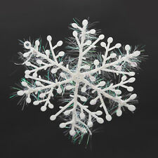 30PCS Plastic Christmas White Snowflakes Xmas Tree Decorations Ornaments Party