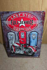 Last Stop Full Service Gasoline Vintage Americana Metal Sign - NEW