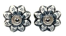 2 PCS INDIAN HANDMADE GREY CERAMIC KNOBS DECORATIVE DRAWER CABINET PULL HANDLE