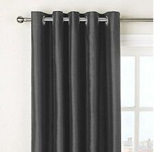 "Slate Grey Faux Silk Fully Lined Eyelet Curtains  90"" x 90"" inches Ring Top NEW"