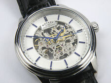 Rotary Men's Manual Wind Swiss Black Leather Strap Skeleton Dial Watch