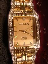 Nice Men's New Gruen Diamond Quartz Gold Bracelet Watch In Box BLING GR902M