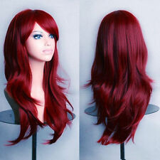 Fashion Women's Wigs 70cm Red Wine Medium Long Wavy Anime Cosplay Party Wig