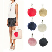 6pk Large Faux Fur Ball Keychains Pom Accessory Blue Black Brown Red Pink W