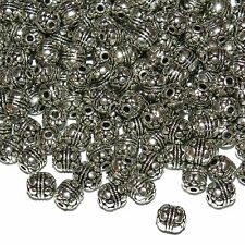 MBXL7230L2 Antiqued Silver Dot & Rope Deco 7x6mm Round Drum Metal Beads 100/pkg
