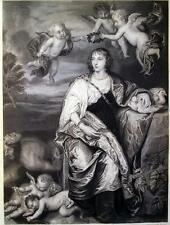 VAN DYCK,RITRATTO,DONNA,PUTTI,CUPIDO,ANGELI,LADY DIGBY,INCISIONE,STAMPA ANTICA