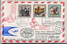 66063) LH A340 FF Frankfurt - Newark USA 15.3.93, Karte Österreich Enklave