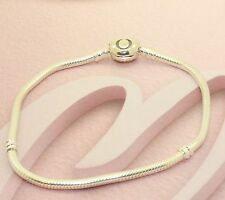 "AUTHENTIC PANDORA ""Moments Silver Bracelet with Heart Clasp 590719 20cm. #924"