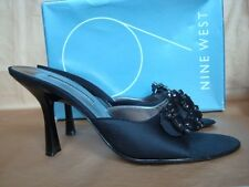 NINE WEST UK 5 BLACK SATIN OPEN TOE MULES BOXED