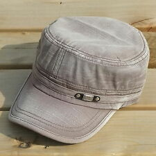 New Distressed Vintage Washed Mens Military Hat Army Cadet Beige Cotton Cap