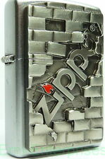 "Zippo Emblem Lighter ""3D Zippo Wall Logo"" No 2003963- New on brushed chrome"