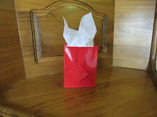 12 Small GLOSSY RED Paper GIFT BAGS wholesale party FREE S/H favor
