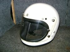 VINTAGE NOS FIBERGLASS FULL FACE LARGE WHITE MOTORCYCLE HELMET FLIP UP SHIELD