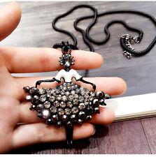 Girl pedant long necklace black UK seller