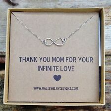 Sterling Silver Infinity Necklace Thank You Mom for Infinite Love Infinity Charm