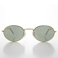 Oval Gold Metallic Frame Vintage 90s Sunglass  NOS - NORRIS