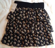 Elephant Safari Print Brown Black Tiered Mini Skirt Size S Small 6 8 Floaty