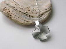COLLANA Argento Sterling fatti con Swarovski Grigio Scuro Croce Pendente da donna regalo