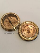 Brass Copper Compass Antique Vintage Heavy Robert Frost Steampunk Fleur De Lis