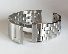 24mm SOLID BRUSHED DOUBLE LOCK CROSS LINKS STAINLESS STEEL WATCH BAND,BRACELET