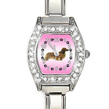 Long Haired Dachshund Dog CZ Ladies Italian Charms Bracelet Wrist Watch BJ1066