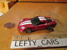 HOTWHEELS DARK RED CHEVROLET CORVETTE C6 HARD TOP WHITE STRIPES SCALE 1/64