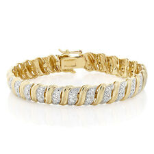 18K Yellow Gold Plated Champagne Diamond Tennis Bracelet, 1/5 Ctw 7.5 Inch