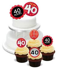 NOVELTY 40th Birthday Party Mix PACK 2 Large 12 Cupcake STAND UP Cake Toppers 40