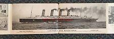 VERY RARE Cunard LUSITANIA & MAURETANIA 8-Panel 1907 Fold-Out Postcard