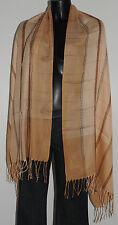 Foulard écharpe étole beige à carreaux 176x69 Très bon état