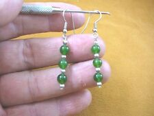 (ee404-31) 6 mm Green Jade Canada gemstone 3 bead + silver beads dangle earrings