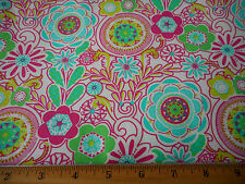 Floral Fabric BTY Pink Teal Green Flowers on White Quilting Cotton