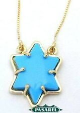 Great 9k Yellow Gold Turquoise Star of David Necklace