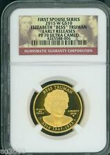 2015-W $10 Gold Spouse Bess Elizabeth Truman Ngc Pf70 Pr70 Early Releases Er !