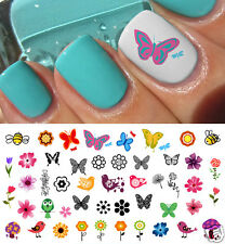 Spring Fever Nail Art Decals Set #1- Flowers, Birds, Butterflies - Salon Quality