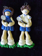 Ornament Christmas Tennis Player Lot of 2 Female Male Clay New Stocking Stuffer