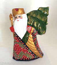 Russian SANTA with Xmas Tree Wood Hand Carved Hand Painted Father of Frost