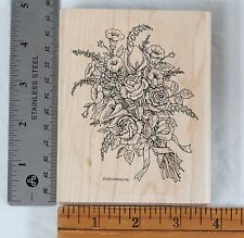 Stampin Up Floral Bouquet 1998 Wood Mounted Rubber Stamp Flowers Bow Victorian