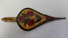 Antique Scandinavian Paint Decorated Fireplace Bellows,Wood,Leather,Brass Nozzle