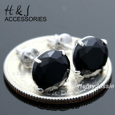 925 STERLING SILVER 9MM BLACK ROUND LAB DIAMOND SCREW BACK STUD EARRING*E88